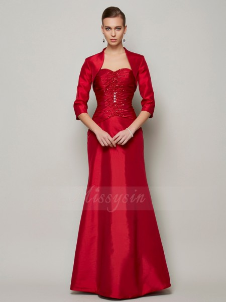 A-Line/Princess Sleeveless Floor-Length Taffeta Sweetheart Beading Dresses