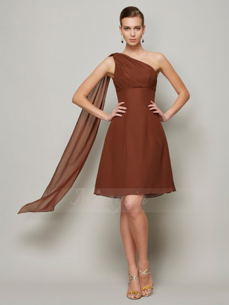 A-Line/Princess Sleeveless Short/Mini Chiffon One-Shoulder Pleats Bridesmaid Dresses