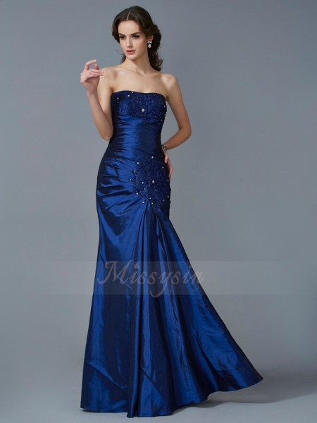 Trumpet/Mermaid Sleeveless Floor-Length Taffeta Strapless Applique Dresses