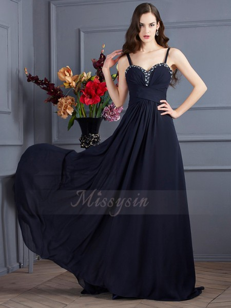 A-Line/Princess Sleeveless Sweep/Brush Train Chiffon Spaghetti Straps Beading Dresses
