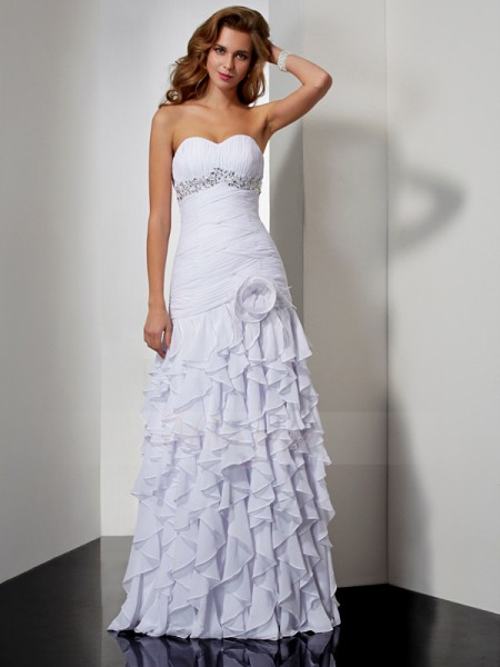 A-Line/Princess Sleeveless Floor-Length Chiffon Sweetheart Ruffles,Beading Dresses