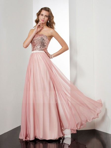 A-Line/Princess Sleeveless Floor-Length Chiffon Strapless Paillette Dresses