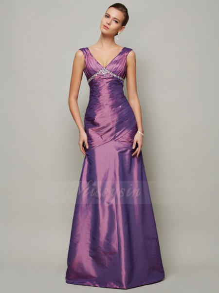 Sheath/Column Sleeveless Floor-Length Taffeta V-neck Beading Dresses