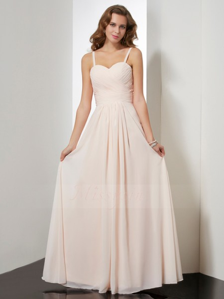Sheath/Column Sleeveless Floor-Length Chiffon Spaghetti Straps Ruffles Dresses