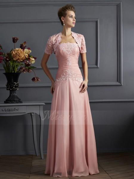 A-Line/Princess Sleeveless Floor-Length Chiffon Sweetheart Applique Mother Of The Bride Dresses