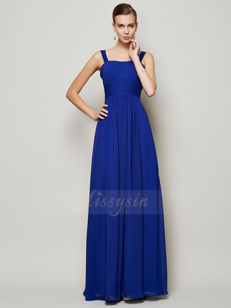 Sheath/Column Sleeveless Floor-Length Chiffon Straps Pleats Dresses