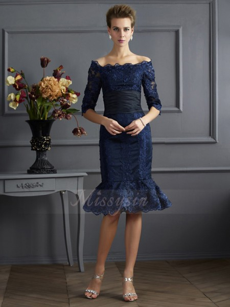Sheath/Column 3/4 Sleeves Knee-Length Taffeta Off-the-Shoulder Dresses