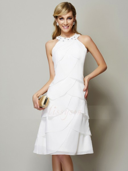 Sheath/Column Sleeveless Knee-Length Chiffon Bateau Beading,Applique Dresses