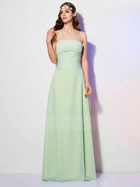 A-Line/Princess Sleeveless Floor-Length Chiffon Strapless Pleats Dresses