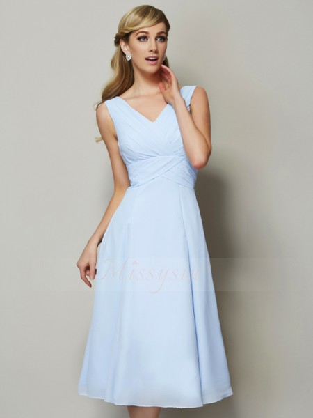 A-Line/Princess Sleeveless Tea-Length Chiffon V-neck Pleats Bridesmaid Dresses