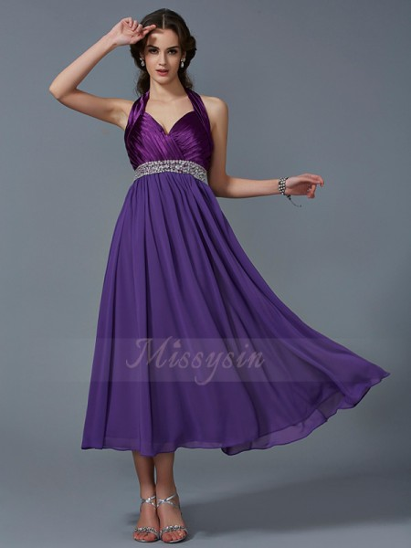A-Line/Princess Sleeveless Ankle-Length Chiffon Halter Beading Dresses