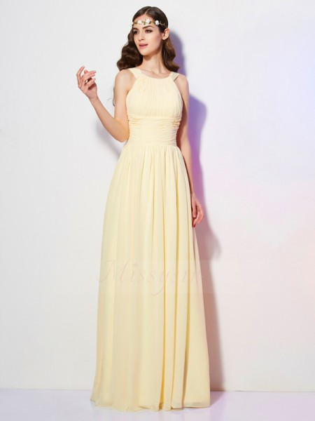 A-Line/Princess Sleeveless Floor-Length Chiffon Bateau Pleats Dresses