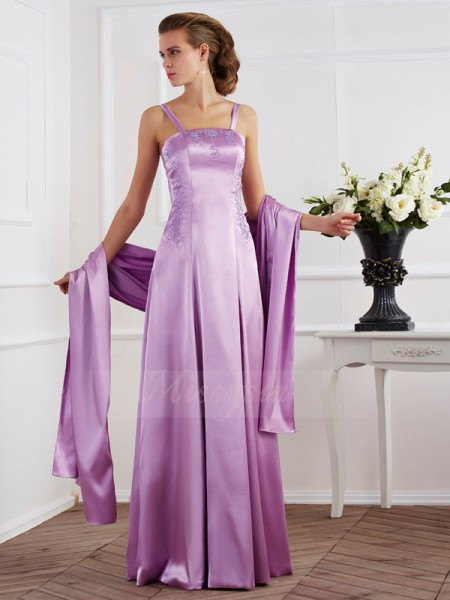 A-Line/Princess Sleeveless Floor-Length Elastic Woven Satin Spaghetti Straps Beading Dresses