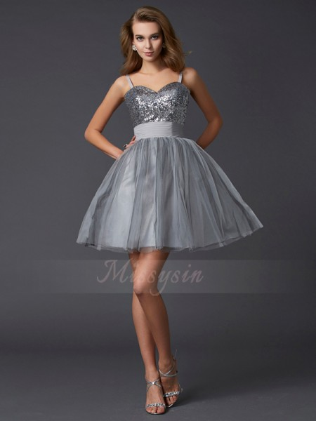 A-Line/Princess Sleeveless Short/Mini Organza Spaghetti Straps Cocktail Dresses