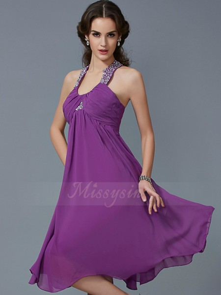 A-Line/Princess Sleeveless Knee-Length Chiffon Halter Beading Dresses