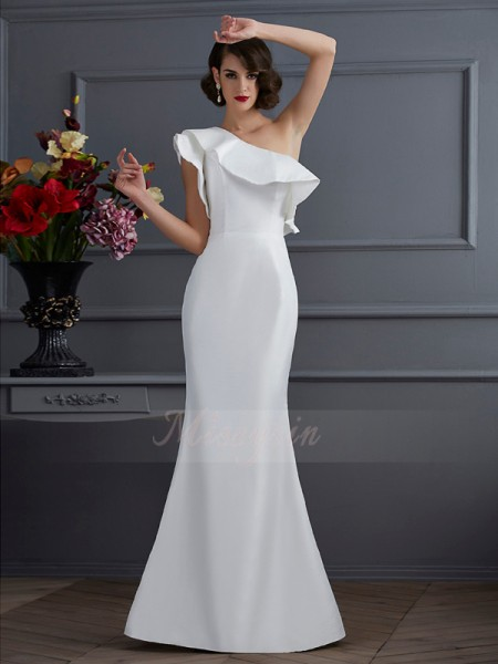 Trumpet/Mermaid Sleeveless Floor-Length Taffeta One-Shoulder Ruffles Dresses