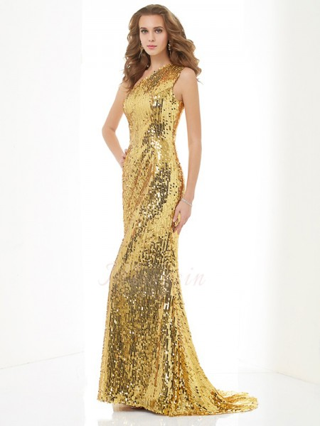 Sheath/Column Sleeveless Sweep/Brush Train Lace,Sequins One-Shoulder ,Sequin Dresses