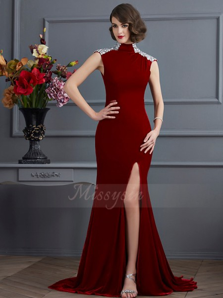 A-Line/Princess Sleeveless Sweep/Brush Train Other High Neck Beading Dresses