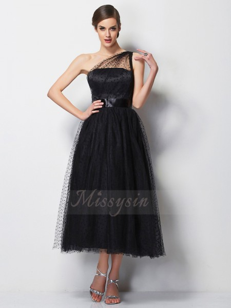 A-Line/Princess Sleeveless Tea-Length Elastic Woven Satin,Net One-Shoulder Pleats Bridesmaid Dresses