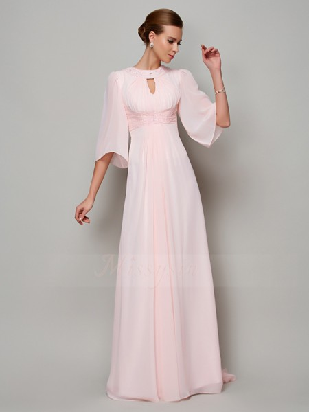 A-Line/Princess 1/2 Sleeves Sweep/Brush Train Chiffon High Neck Beading Dresses