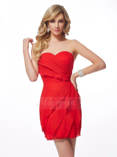 Sheath/Column Sleeveless Short/Mini Chiffon Sweetheart Ruffles Cocktail Dresses