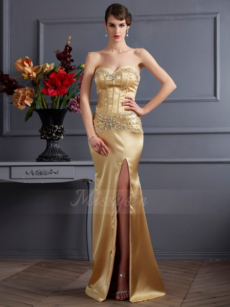 Sheath/Column Sleeveless Sweep/Brush Train Elastic Woven Satin Sweetheart Beading Dresses
