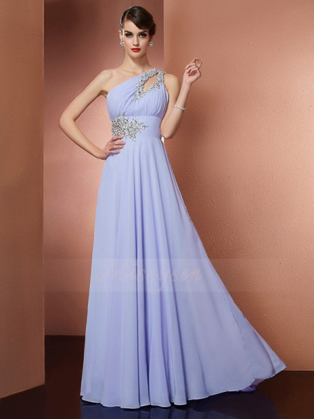 A-Line/Princess Sleeveless Sweep/Brush Train Chiffon One-Shoulder Beading,Applique Dresses