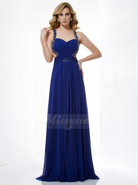 A-Line/Princess Sleeveless Floor-Length Chiffon Halter Beading Dresses