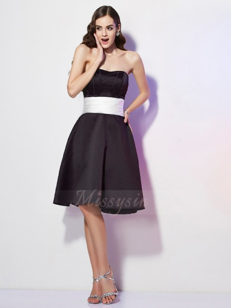 Sheath/Column Sleeveless Knee-Length Satin Strapless Sash/Ribbon/Belt Bridesmaid Dresses