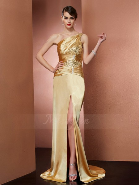 Sheath/Column Sleeveless Sweep/Brush Train Elastic Woven Satin One-Shoulder Beading Dresses