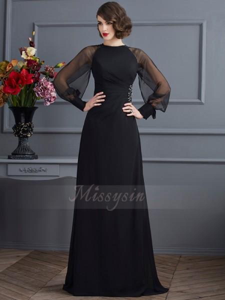 Sheath/Column Long Sleeves Sweep/Brush Train Chiffon Scoop Beading Dresses