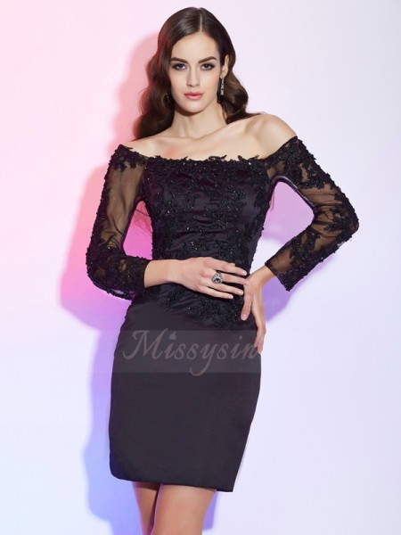 Sheath/Column Long Sleeves Short/Mini Satin,Lace Off-the-Shoulder Applique Mother Of The Bride Dresses