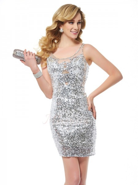 Sheath/Column Sleeveless Short/Mini Sequins Scoop ,Paillette Cocktail Dresses