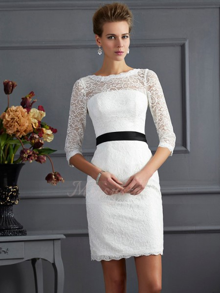 Sheath/Column 3/4 Sleeves Short/Mini Lace Scoop Sash/Ribbon/Belt Mother Of The Bride Dresses