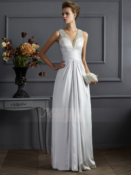 A-Line/Princess Sleeveless Floor-Length Silk like Satin Straps Beading Dresses