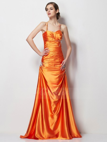 A-Line/Princess Sleeveless Sweep/Brush Train Elastic Woven Satin Spaghetti Straps Beading Dresses