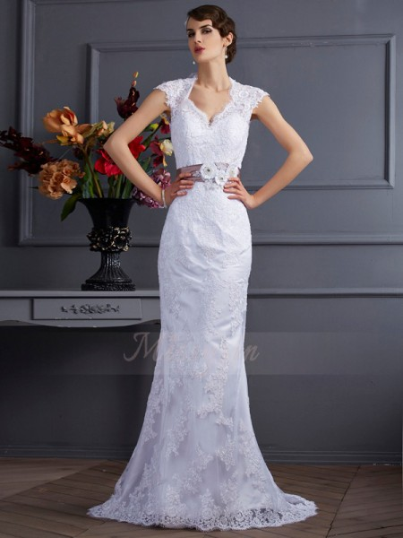 Trumpet/Mermaid Sleeveless Sweep/Brush Train Satin Other Applique,Lace Wedding Dresses