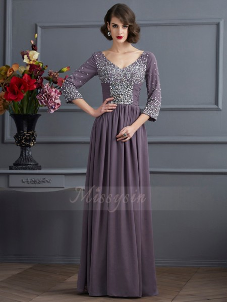 Sheath/Column 3/4 Sleeves Floor-Length Chiffon V-neck Beading Dresses