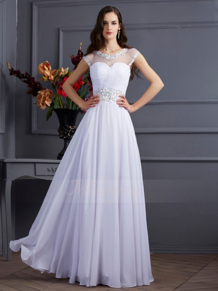 A-Line/Princess Short Sleeves Floor-Length Chiffon Bateau Beading Dresses