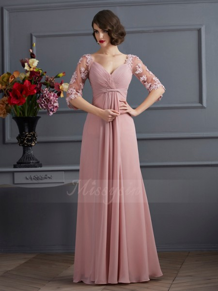 A-Line/Princess 1/2 Sleeves Floor-Length Chiffon Sweetheart Beading,Applique Dresses