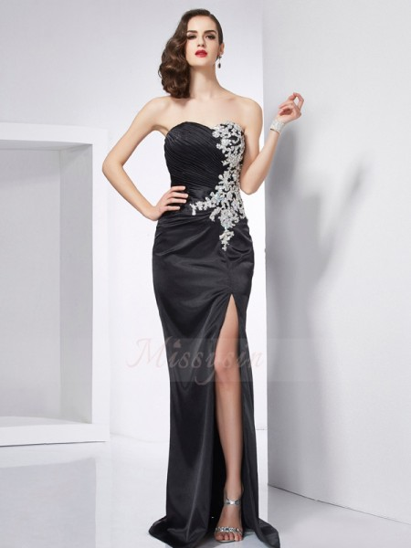 Trumpet/Mermaid Sleeveless Sweep/Brush Train Elastic Woven Satin Sweetheart Beading Dresses