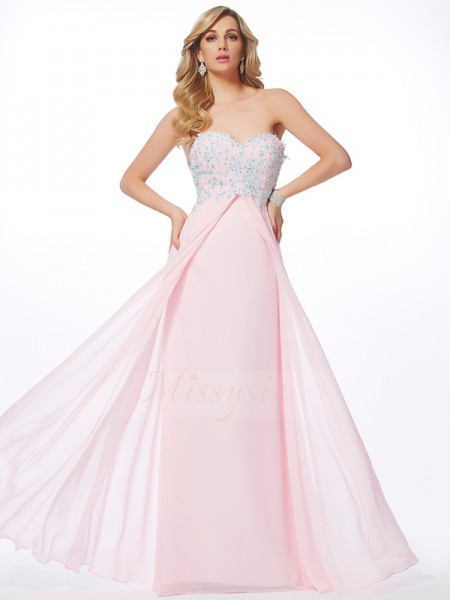 Sheath/Column Sleeveless Floor-Length Chiffon Sweetheart Beading,Applique Dresses