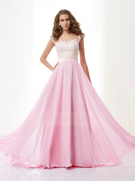 A-Line/Princess Sleeveless Sweep/Brush Train Chiffon Straps Beading,Applique Dresses