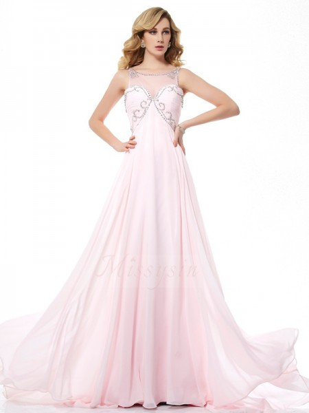A-Line/Princess Sleeveless Sweep/Brush Train Chiffon Scoop Beading Dresses
