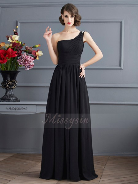 A-Line/Princess Sleeveless Floor-Length Chiffon One-Shoulder Dresses