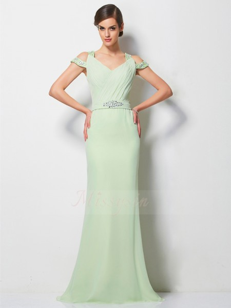 A-Line/Princess Sleeveless Sweep/Brush Train Chiffon V-neck Beading Dresses