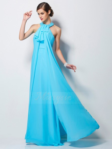 Sheath/Column Sleeveless Floor-Length Chiffon Halter Beading Dresses