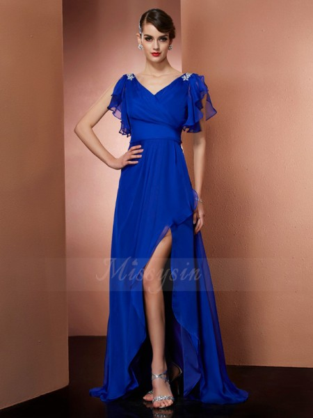 A-Line/Princess Sleeveless Asymmetrical Chiffon V-neck Beading Dresses
