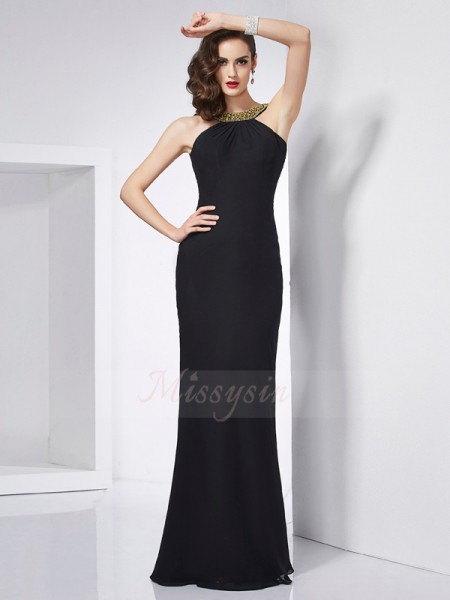 Trumpet/Mermaid Sleeveless Floor-Length Chiffon Jewel Beading Dresses