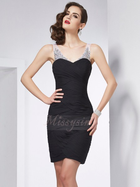 Sheath/Column Sleeveless Short/Mini Chiffon Straps Beading Cocktail Dresses